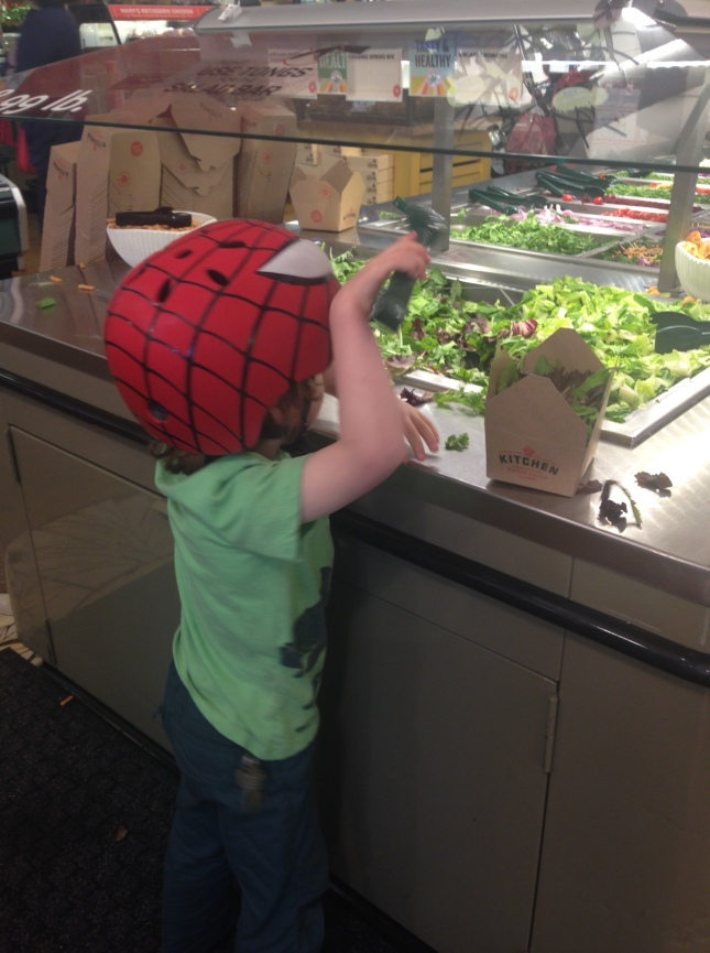 I may not be a great parent, but my youngest begs for lettuce and balsamic vinegar every time we're in a store with a salad bar. I'm grateful for his patience with spring mix.